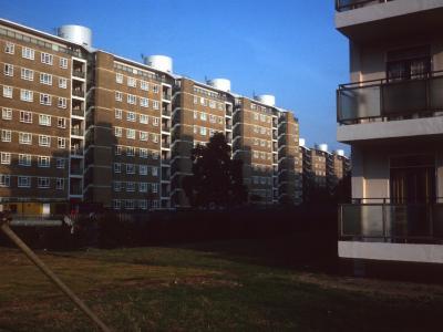 View of 9-storey blocks on Churchill Gardens Estate