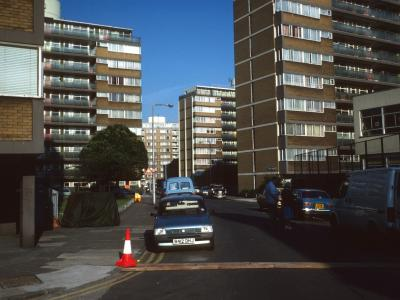 View of 7-storey block on Churchill Gardens Estate