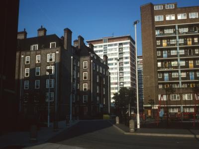 View of Edgson House with 14-storey point blocks (Chelsea Barracks) in background