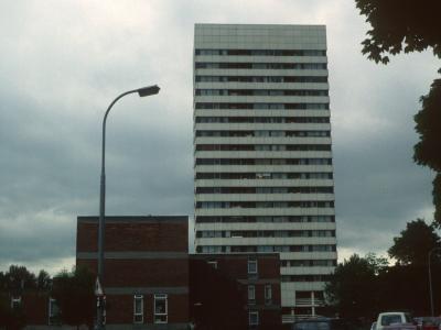 View of 20-storey block on Abbey Estate
