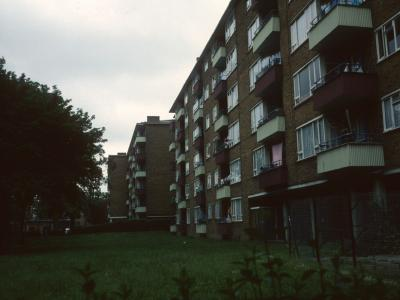 View of 6-storey blocks on St Pancras Way development