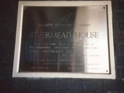 Plaque commemorating opening of Rivermead House