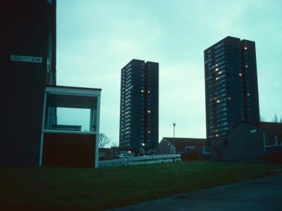 View of 24-storey blocks from corner of Oxon Way and Littlemore Close