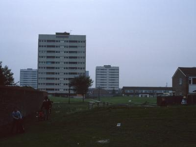 View of 11-storey blockson Monby Road and 12-storey Chivenor House