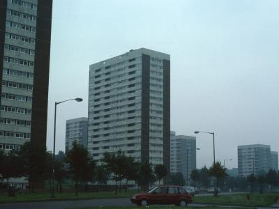 View of two 20-storey blocks with 13-storey blocks in background