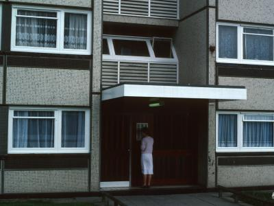 Entrance to 13-storey block on Chelmsley Road