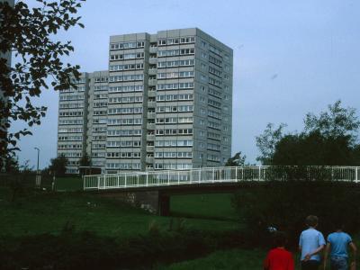 View of 13-storey blocks on Chelmesley Road