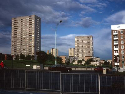 View Northwest from Lee Bank Road of Audleigh House, 20-storey blocks, and The Sentinels in background