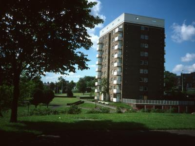 View of typical 9-storey block on Bell Barn Road
