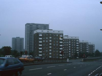 View of 9-storey blocks on Bell Barn Road (Audleigh House in front) with Packwood House and 20-storey block