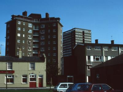 View of 20-storey block in background behind Boulton Place