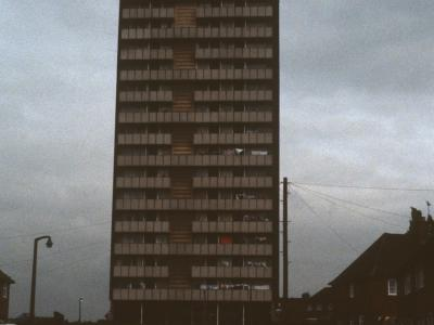 View of 17-storey block on Carisbrooke Crescent