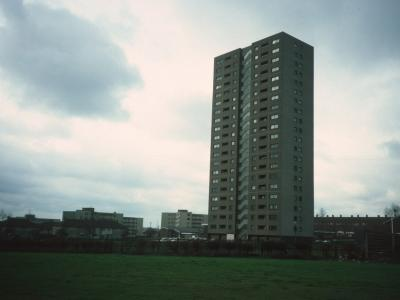 View of 21-storey block on Yew Tree Estate