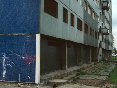 Ground floor view of condemned 15-storey block