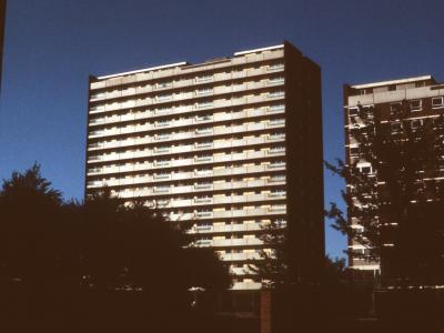 View of 18-storey blocks in Cobden Lane redevelopment