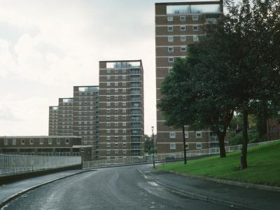 View of 16-storey blocks in Chapel Street redevelopment with Bodmin Court in foreground