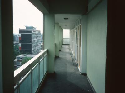 View along tenth storey deck of George Poole House