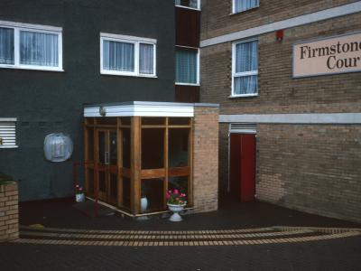 Grond floor view of entrance to Firmstone Court