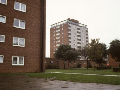 View of St John's Road 11-storey block from Radcliffe Gardens