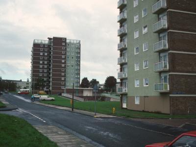View of 12-storey blocks on Hartlebury Road
