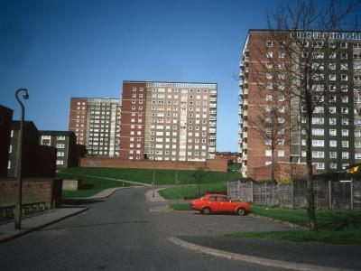 View of 12-storey blocks on Brades Road