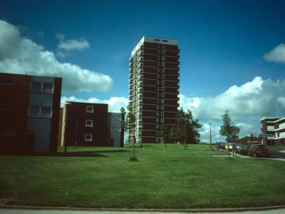View of 16-storey block on Milton Grove