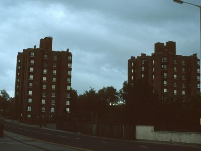 View of Arthur Cotton Court (left) and Port Vale Court (right) from Hamil Road
