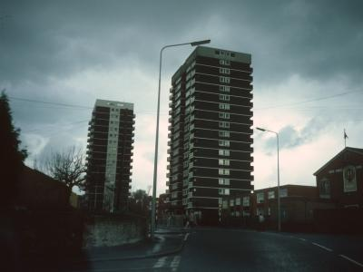 View of Little London House (foreground) and Wood House from West Bromwich Street