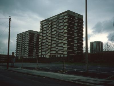 View of 13-storey blocks on Teddesley Street with Austin House in background
