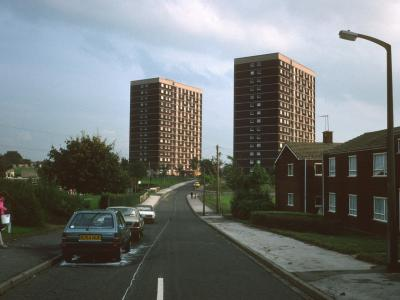 View of 15-storey blocks on Lodge Farm Estate