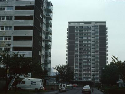 View from Murrell Close of 11-storey block (on left) and Ottawa Tower