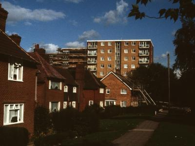 View of all three blocks from Bushwood Road, with Winslow House in front