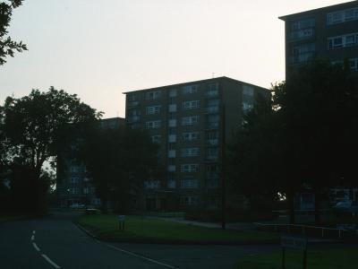 View from Arrow Walk (from right to left) of Loweswater House, Sandhurst House, and Waltham House