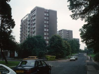View of 12-storey blocks from Sutton Road with Normanton Tower in foreground