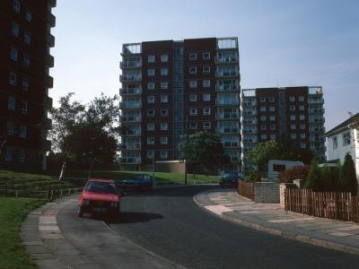 View of 10-storey blocks with Wellington House in centre