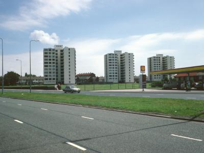 View of 11-storey blocks on Alamein Road from Liverpool Road