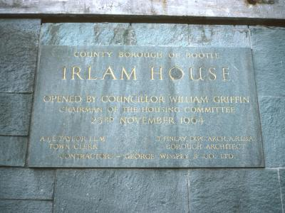 Plaque in Irlam House commemorating official opening