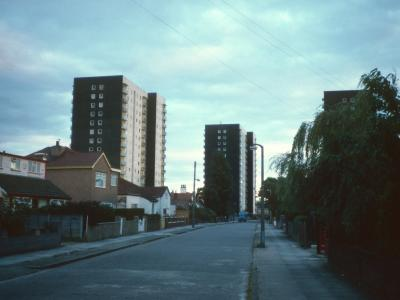 View of 15-storey blocks on Stavordale Road