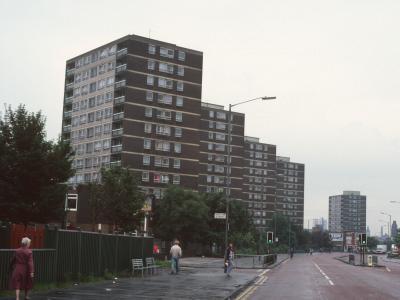 View of 13-storey blocks on Gunson Street from Oldham Road
