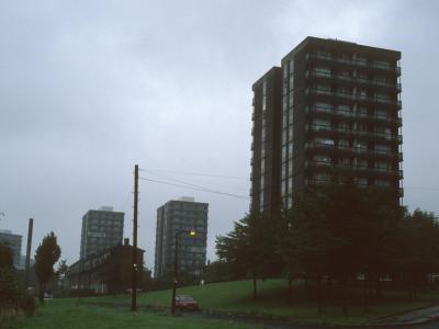 View of 13-storey blocks in Collyhurst development