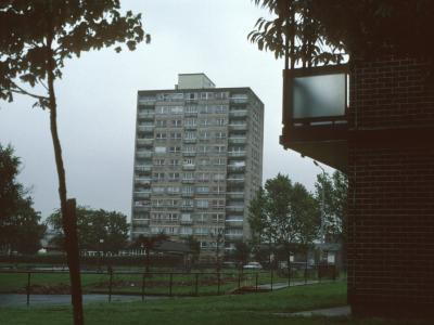 View of 13-storey block in Collyhurst development