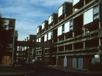 View of 6-storey blocks in Hulme redevelopment, Stage 4