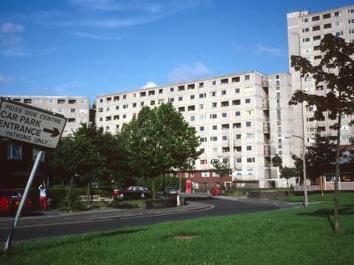 General view of mutli-storey blocks in Moss Side