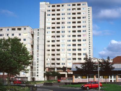 View of 16-storey block in Moss Side