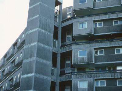 View of 10-storey block in Moss Side