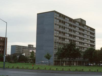 View of 9-storey blocks on Hulme redevelopment, Stage 3