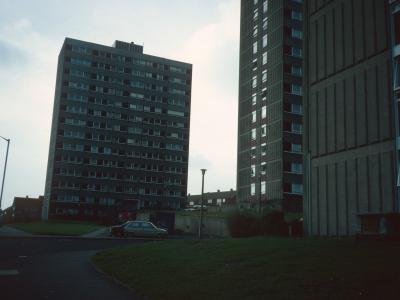 View of 13-storey blocks on Darnhill Estate