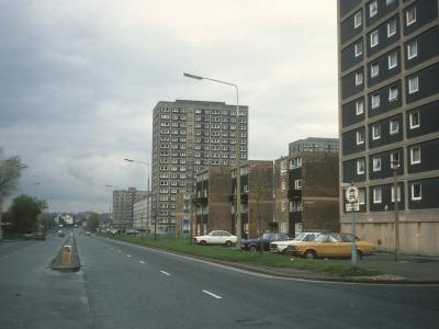 View from Lilac Court down Churchill Way with Cherry Tree Court and Holm Court in distance