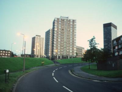 View of Brook Hill blocks with Sheffield University Arts Tower in background