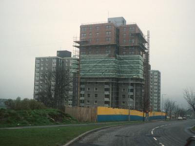 View of 15-storey blocks on Deer Park Road